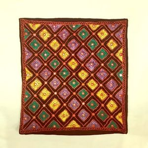 Artisanal multicolor mirrored square pillow case